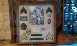A display in honor of local veteran, John Sledge.