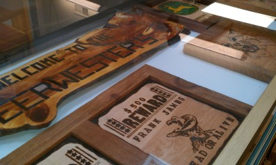 Some of Gene Deerwester's woodburning projects.