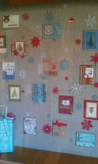 Display of stamped cards by Kristy Zalucha