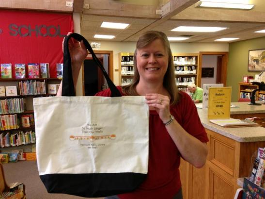 Lisa holding library tote
