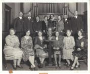 History Mystery Photo #8 In 1928 the General Federated Woman entered and won The Cleanest Town in IL (based on size/population) for the Village of Heyworth. The Village of Heyworth also won this award in 1929 and 1930 through the efforts of the GFWC. If you know any more details of this event, or the people sitting for the picture we would love to know more information. All three trophies are on display in the front case of the library until the end of April, along with a 1914 plat map of Randolph Township. The trophies are on loan from the Village of Heyworth.