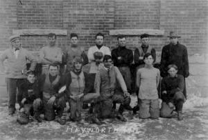 "History Mystery Photo #16. Over 100 years ago, Heyworth watched highschool football on Thanksgiving Day. ""The Hudson foot ball team and Heyworth team will have a game at Heyworth on Thanksgiving day.""  This news note appeared in The Heyworth Natural Gas on November 23, 1911. We know the picture shown is o the 1911 Heyworth H.S. team. Do you know the names of any of the team members? The name of the coach? Or the outcome of the game? If you do, please contact the library at 473-2313."